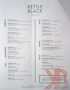 Kettle Black Menu