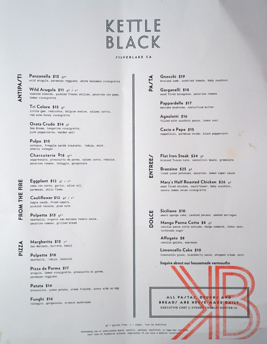 kettle black los angeles ca  kettle black menu