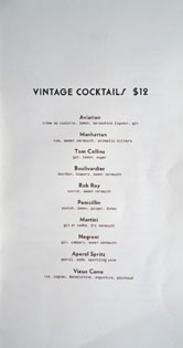 Kettle Black Vintage Cocktail List