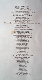 Kettle Black Beer & After Dinner Drink List