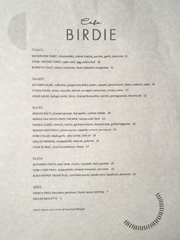 Cafe Birdie Menu