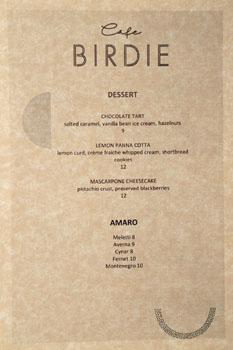 Cafe Birdie Dessert Menu
