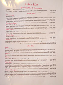 Sushi Enya Wine List
