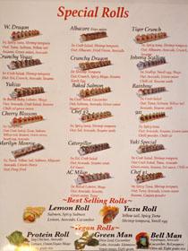 Sushi Enya Menu: Special Rolls