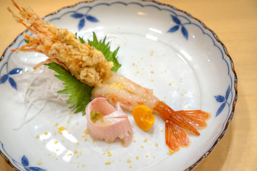 Amaebi & Hamachi Sunazuri Sashimi