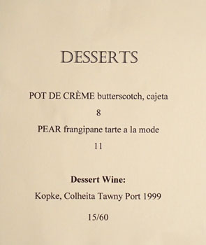 Lost at Sea Dessert Menu