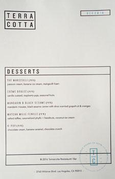 Terra Cotta Dessert Menu