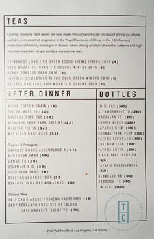 Terra Cotta Tea List, After Dinner Drinks List & Bottle Service Menu