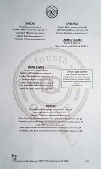 4th and Olive Menu