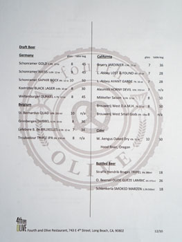 4th and Olive Beer List