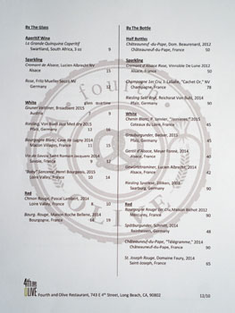 4th and Olive Wine List