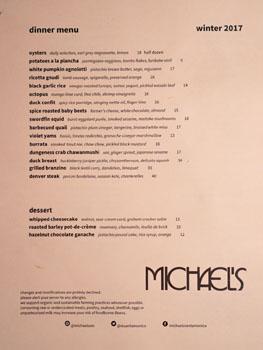 Michael's Menu