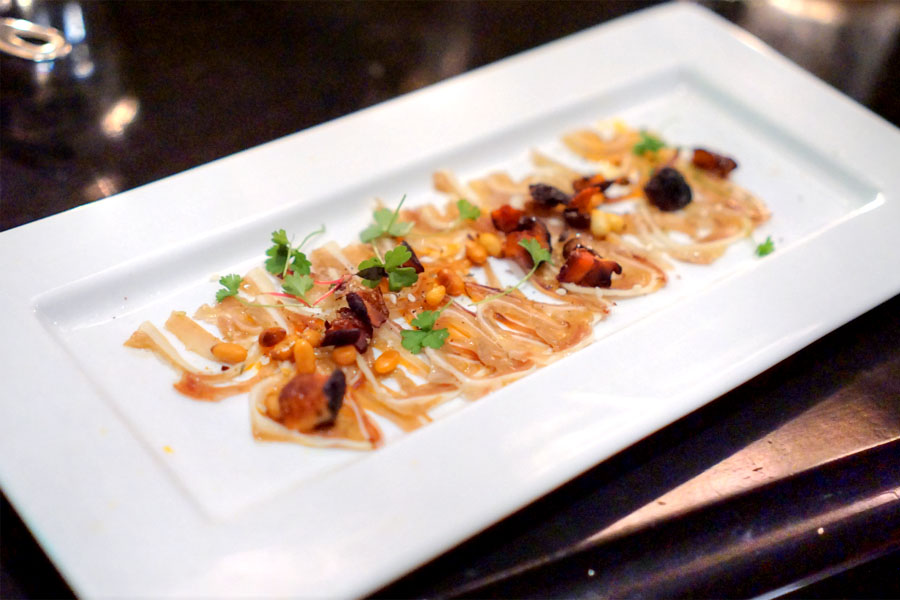 pig ear terrine, mushroom XO, cilantro & pine nuts