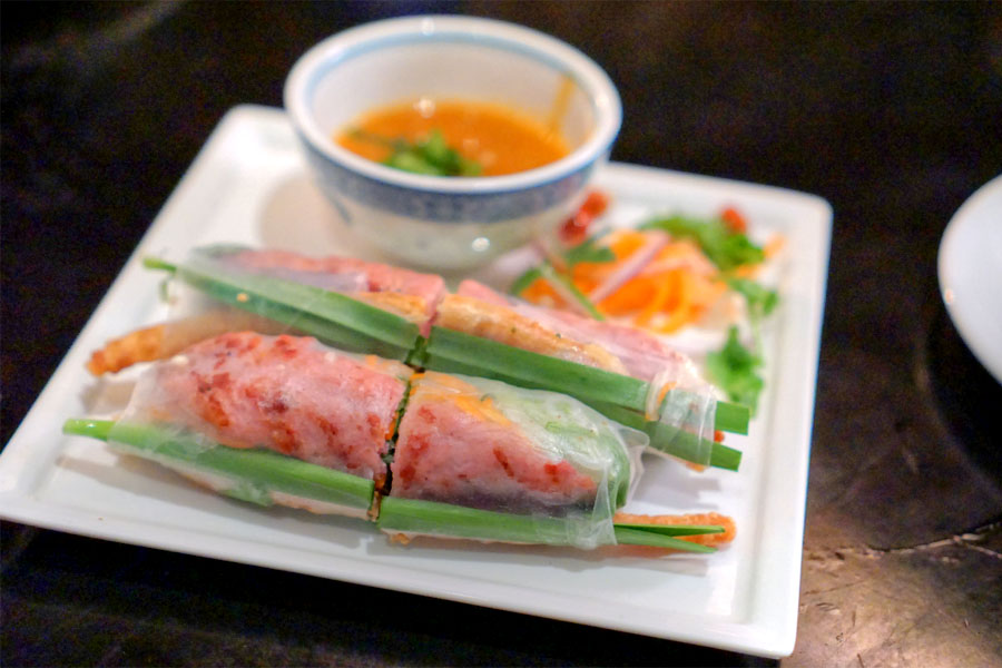 grilled pork spring roll 'nem nuong', red leaf lettuce, mint, carrot, cucumber, house sauce