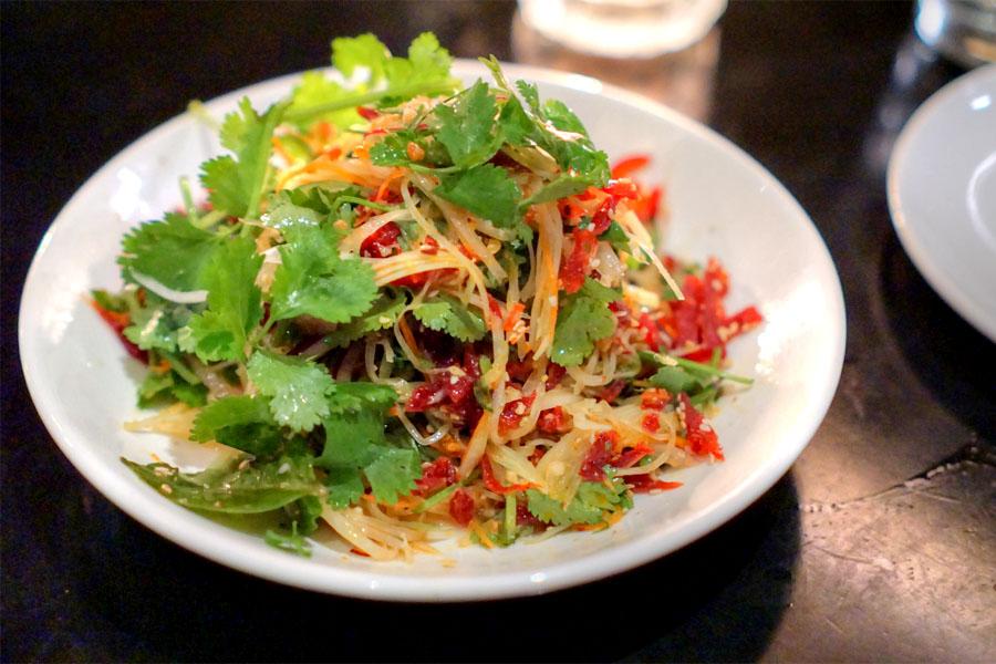 'goi du du' green papaya salad, viet beef jerky, peanuts, chili lime vin