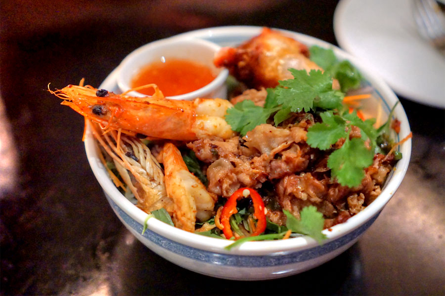 'bun tom thit nuong cha gio' charbroiled pork, shrimp & egg roll over vermicelli, condiments