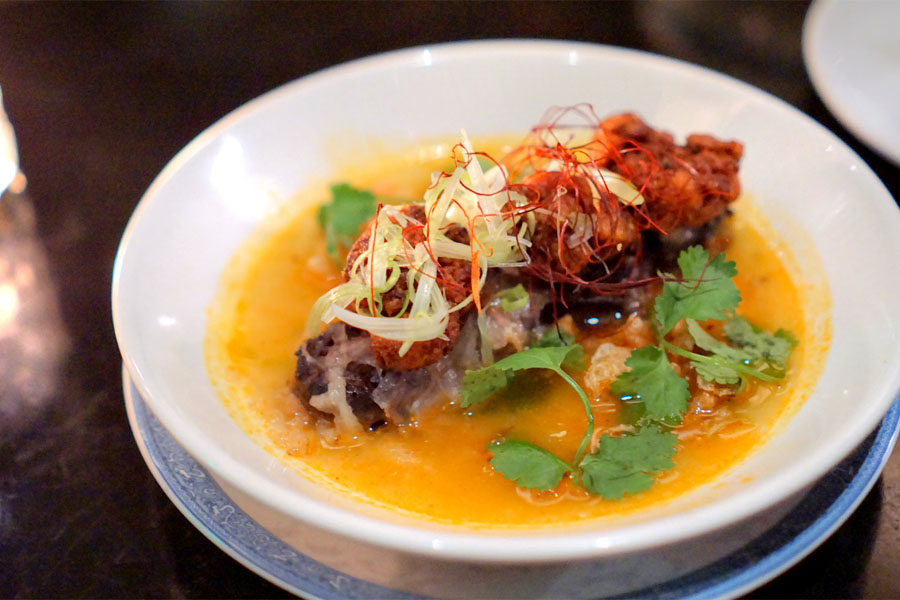 crispy sweetbreads, 'bun bo hue' flavors, shaved tendon and lardons