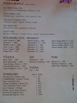 The Venue Karaoke Punch Bowl & Bottle List