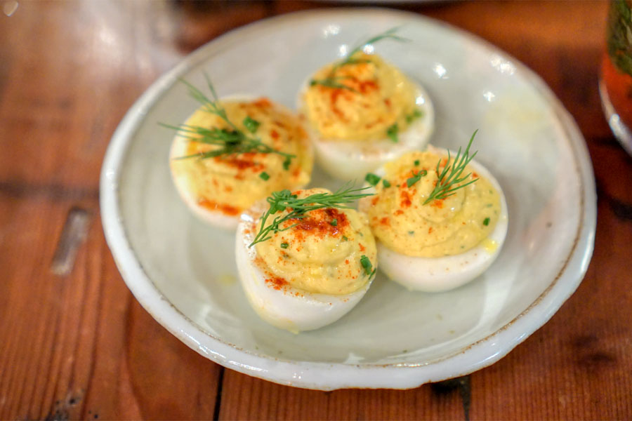 Deviled eggs, house pickled relish, dijon