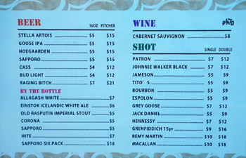 Plato Beer, Wine, and Spirits List