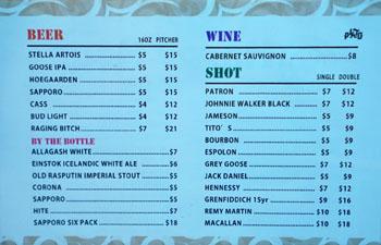 Plato Beer, Wine, and Spirits List