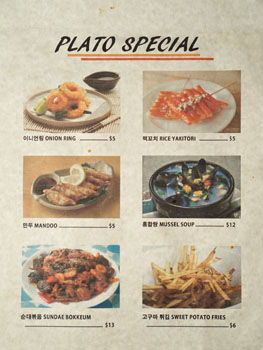 Plato Specials Menu