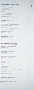 Kali Everyday Bottles Wine List