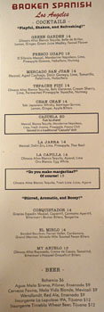 Broken Spanish Cocktail & Beer List