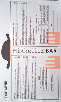 Mikkeller Bar Menu
