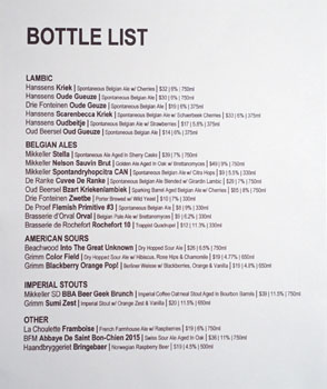 Mikkeller Bar Bottle List