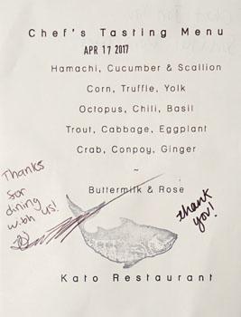Kato Chef's Tasting Menu