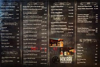Hikari Japanese BBQ and Grill Beverage List