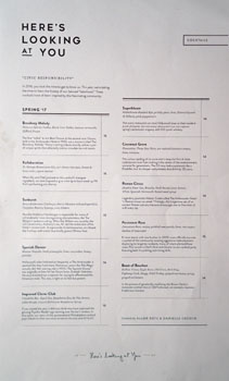 Here's Looking at You Cocktail List