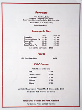Gus's World Famous Fried Chicken Beverage List, Dessert Menu & Kids' Menu