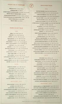 Felix Wine List