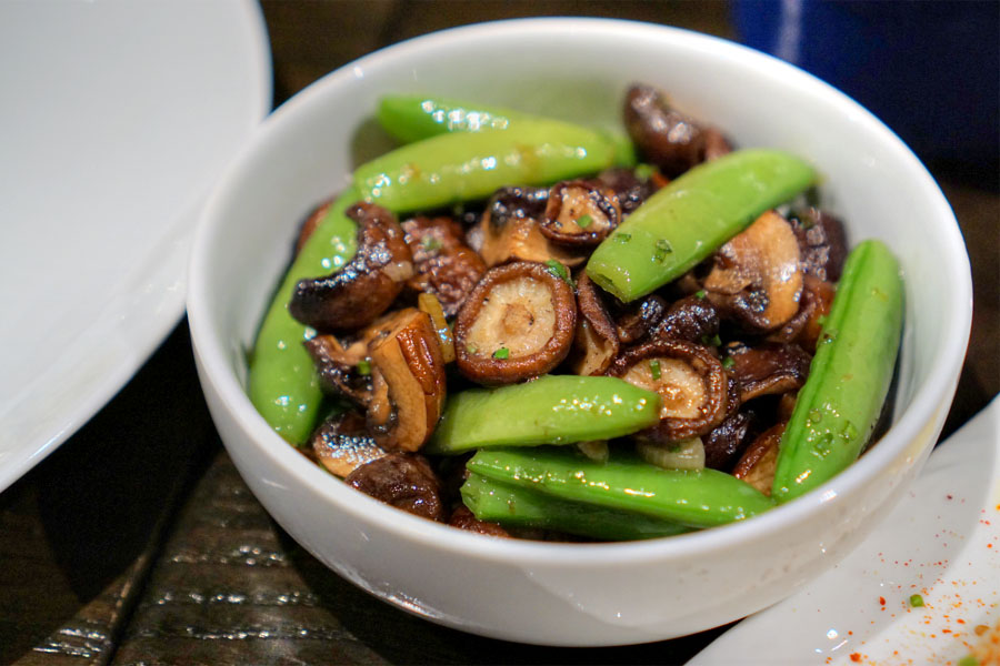 Mushrooms and Snap Peas Roasted in Green Garlic