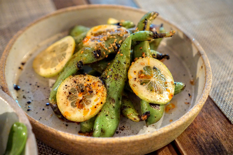 Grilled whole fava beans with sea salt and lemon
