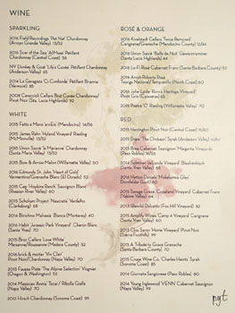 PYT Wine List