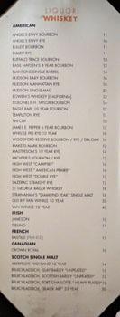 Chianina Steakhouse Liquor List: Whiskey