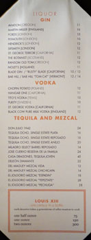 Chianina Steakhouse Liquor List: Gin, Vodka, Tequila and Mezcal