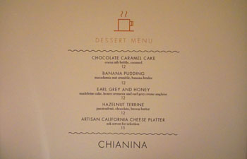 Chianina Steakhouse Dessert Menu