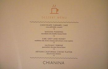Chianina Steakhouse Dessert Menu