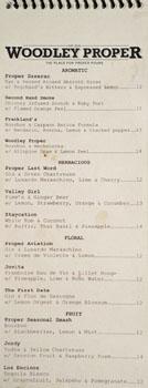 Woodley Proper Cocktail List: Aromatic, Herbaceous, Floral, Fruit