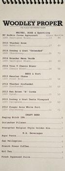 Woodley Proper Wine & Beer List