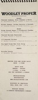 Woodley Proper Menu: Salads, Mains, Sweets