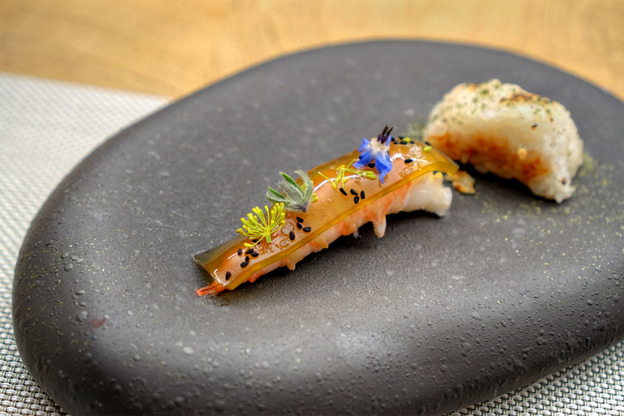 Spot prawn, green chile, onigiri