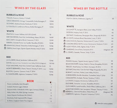 Cosa Buona Wine & Beer List