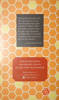 Birds & Bees Menu Back Cover