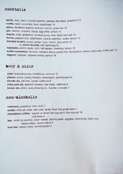 Ink Cocktail & Beer List