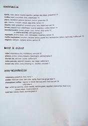 Ink Cocktail & Beer List